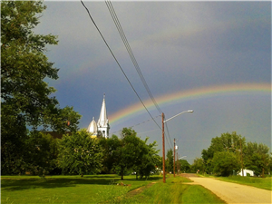 Church Steeple and Rainbow